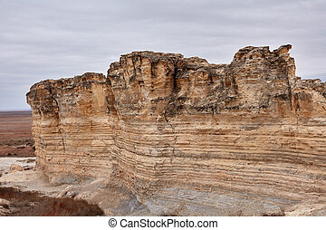 Weathered eroded limestone formations in the Castle Rock ...