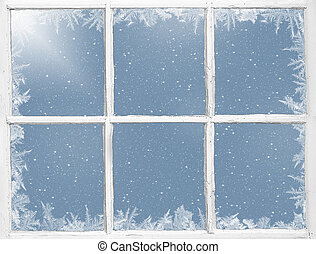 weathered frosted window - old white window with frosted...
