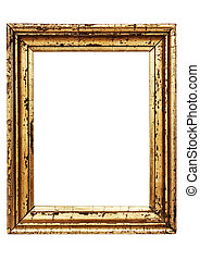 Weathered Golden Picture Frame with Clipping Path