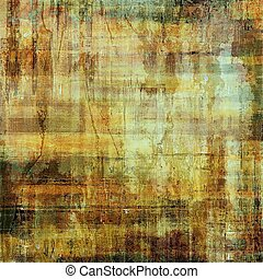 Weathered grunge elements on vintage texture for your design. Aged background with different color patterns: yellow (beige); brown; green; red (orange); gray