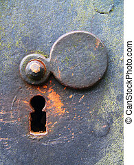 Old keyhole covered with rust and moos.