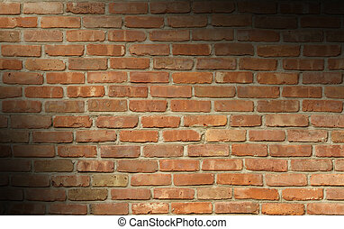 Weathered red brick wall lit diagonally - Weathered red...