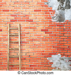 red brick wall with wooden ladder