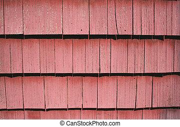 Red shingle siding