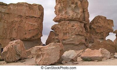 Weathered rocks - A wide shot of weathered rocks on a rocky...