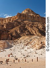 Weathered sandstone mountain in the desert in Timna national park in Israel