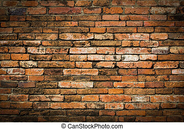 Weathered stained old brick wall background - Weathered...