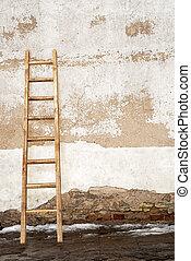 weathered stucco brick wall