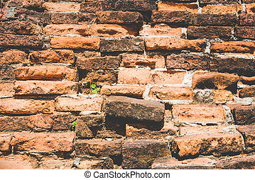 Weathered texture of stained old dark brown and red brick wall background, grungy rusty blocks of stone-work technology 4