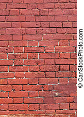 Weathered texture of stained old red brick wall background