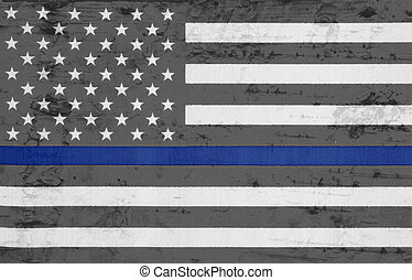 Weathered United States of America thin blue line flag