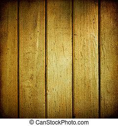 weathered., ved, plankor, gul, struktur