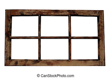 Weathered Window Frame - An old isolated wooden window...