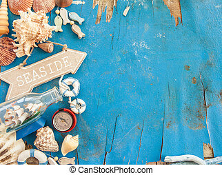 Weathered wooden background with maritime decorations and ...
