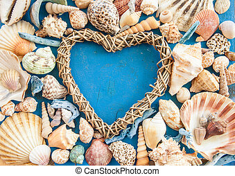 Weathered wooden background with sea shells - Weathered...