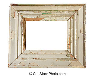 weathered wooden frame - empty old weathered picture frame...