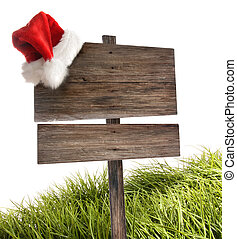 Weathered wooden sign with  hat on white