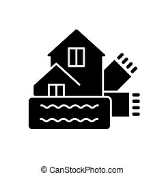 Weatherization black glyph icon. Weatherproofing building. Efficient insulation for home. House heat, climate control. Energy purchase. Silhouette symbol on white space. Vector isolated illustration
