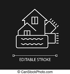 Weatherization white linear icon for dark theme. Weatherproofing building. Energy purchase. Thin line customizable illustration. Isolated vector contour symbol for night mode. Editable stroke
