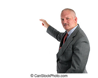 A meteorologist pointing to a weather map or a business man pointing to a chart. (room for weather map or chart to be inserted)