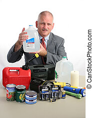 Weatherman & Water - a meteorologist with hurricane supplies...