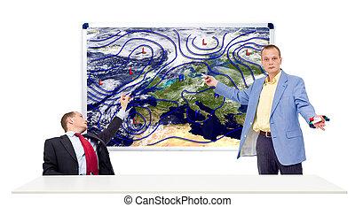 Weathermen behind an anchor desk