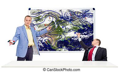 Weathermen behind an anchor desk - Two weathermen behind an ...