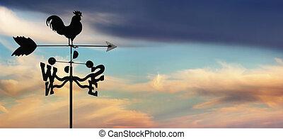 weathervane, contro, cloudscape