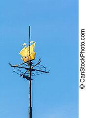 weathervane, in, den, bilda, av, skepp, över, blåttsky