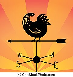 weathervane - running rooster. Against the backdrop of an orange sky