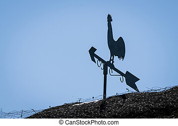 Weathervane silhouette of a rooster
