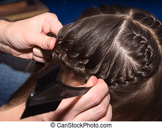 Weave braids - Weave girls braids in hair salon