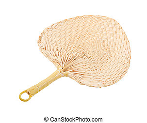 Weave fan made of dried palm leaf plant isolated on white background, Save clipping path.