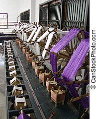 A factory weaving cloths