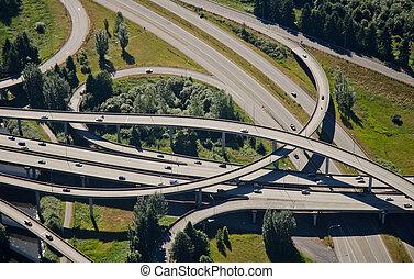Weaving Interstate Junction - Aerial perspective of...