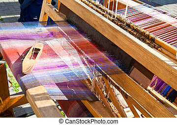 weaving loom  - Old weaving loom and shuttle
