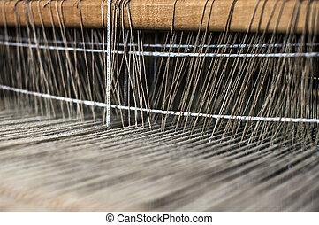 Handloom weaving machine  Front view of an old handloom