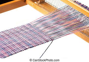 Weaving project - Old wooden handloom and nice weaving ...