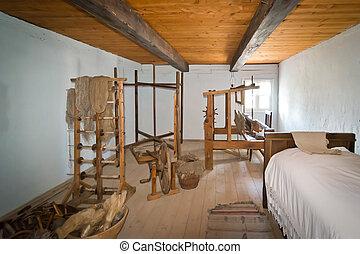 weaving workshop in heritage park, Poland XIXth century -...