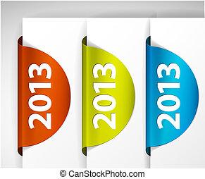 (web), étiquettes, /, bord, vecteur, autocollants, rond, 2013, page