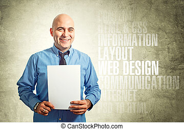 web, бумага, держа, designer
