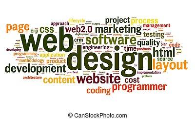 web, дизайн, концепция, в, слово, тег, облако