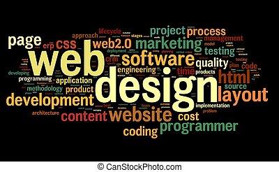 web, дизайн, концепция, в, тег, облако, на, черный