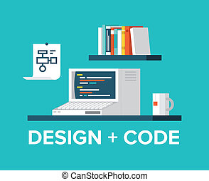 web, программирование, and, дизайн, with, ретро, компьютер, иллюстрация