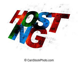 web, разработка, concept:, hosting, на, цифровой, задний план
