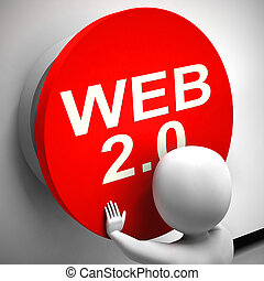 Web 2.0 concept icon means connected to the World Wide Web - 3d illustration