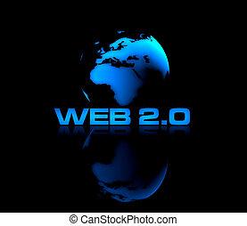 Web 2.0 - Abstract shiny globe on black background with WEB...