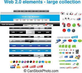 web, 2.0, elemente, -large, sammlung