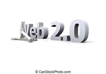 Web 2.0 - Under Construction - 3D Illustration. Website is...