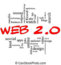 web, 2.0, wort, wolke, begriff, in, rotes , &, schwarz